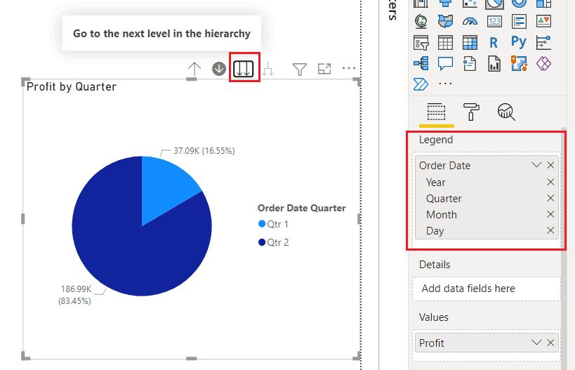 Drill down on Power BI Pie Chart