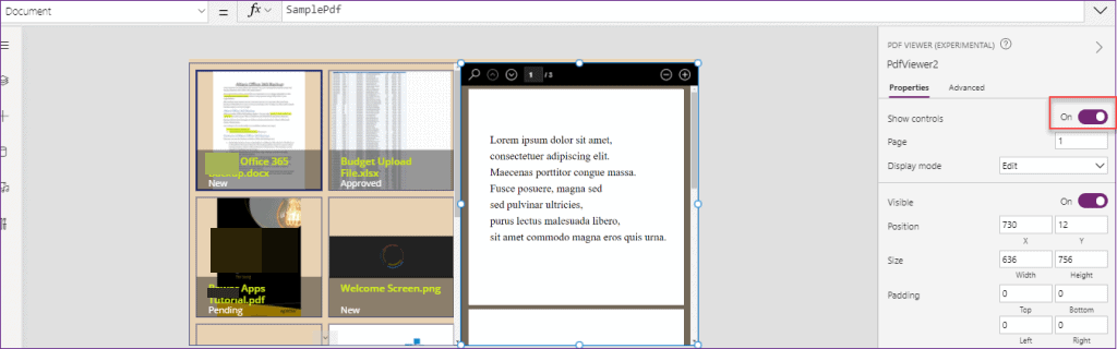 Power Apps PDF Viewer experimental control