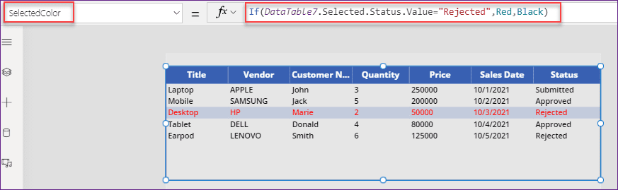 Power Apps data table conditional formatting