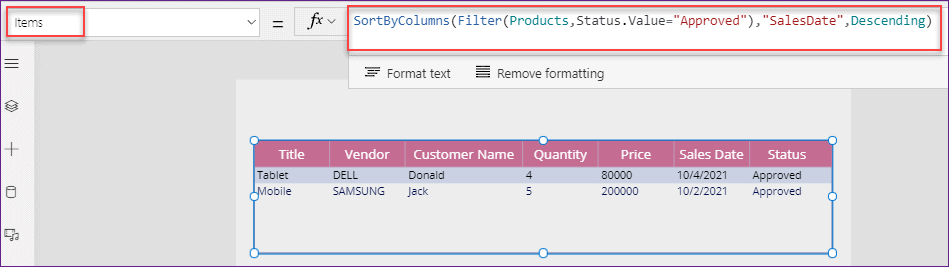 Power Apps data table filter and sort