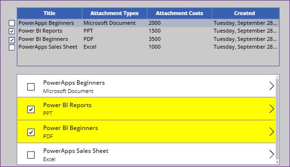 Power Apps data table select row