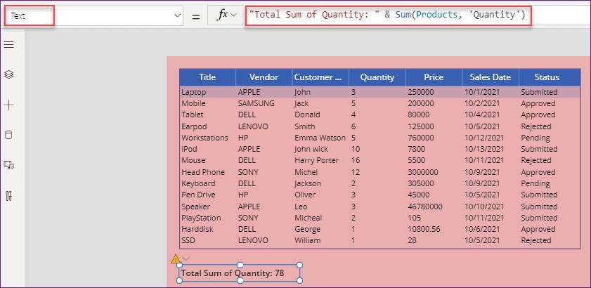 Power Apps data table sum column