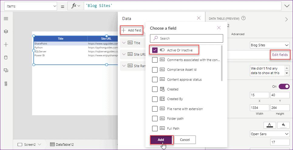 Power Apps datatable checkbox