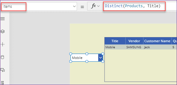 Power Apps filter data table based on dropdown