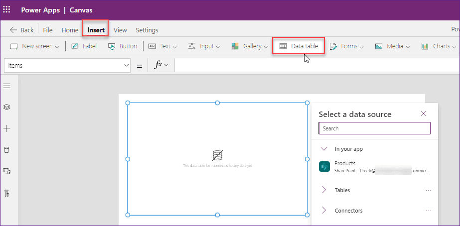 PowerApps Data Table