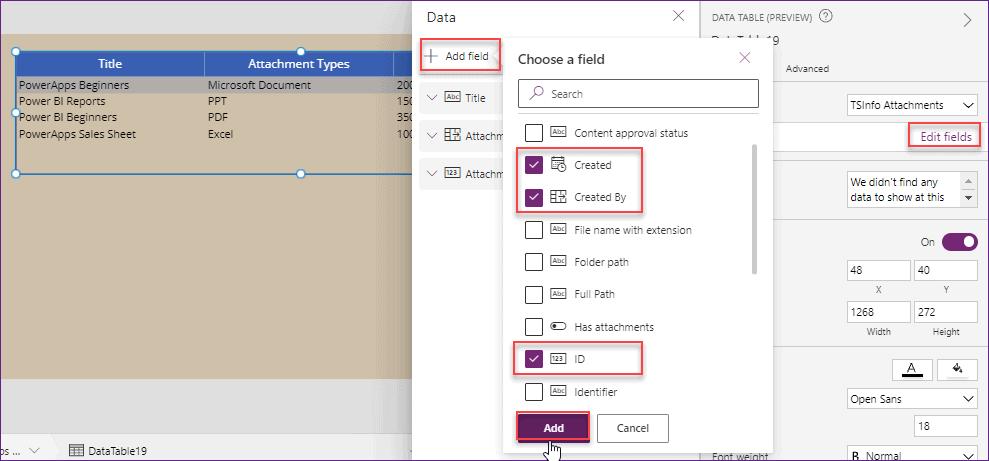 PowerApps data table add custom column