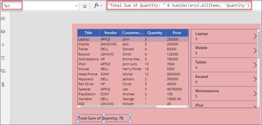 PowerApps data table column sum