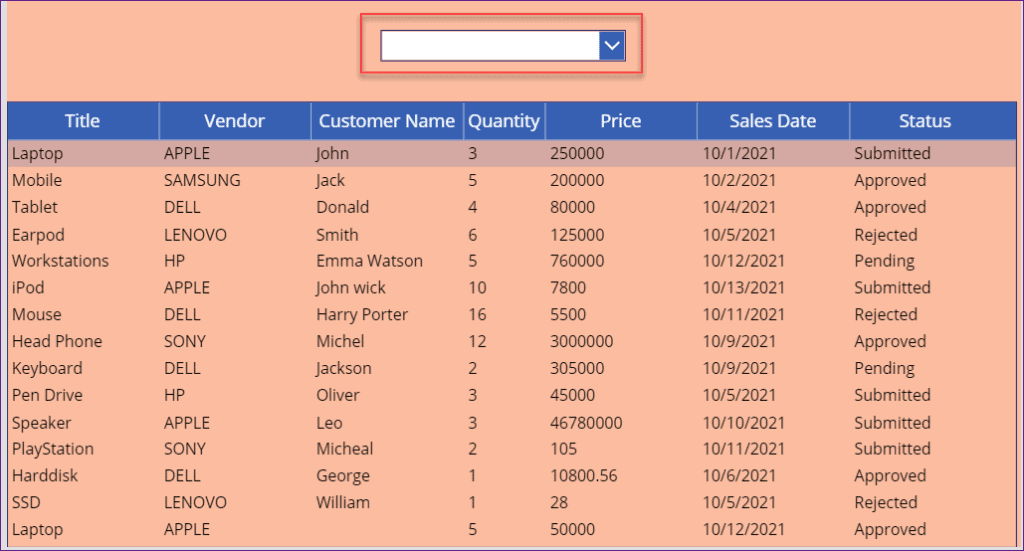 PowerApps data table empty