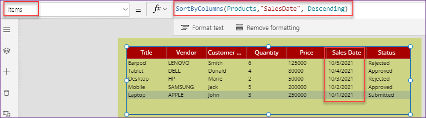 PowerApps data table filter and sort