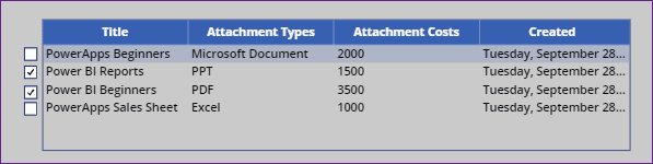 PowerApps data table select row