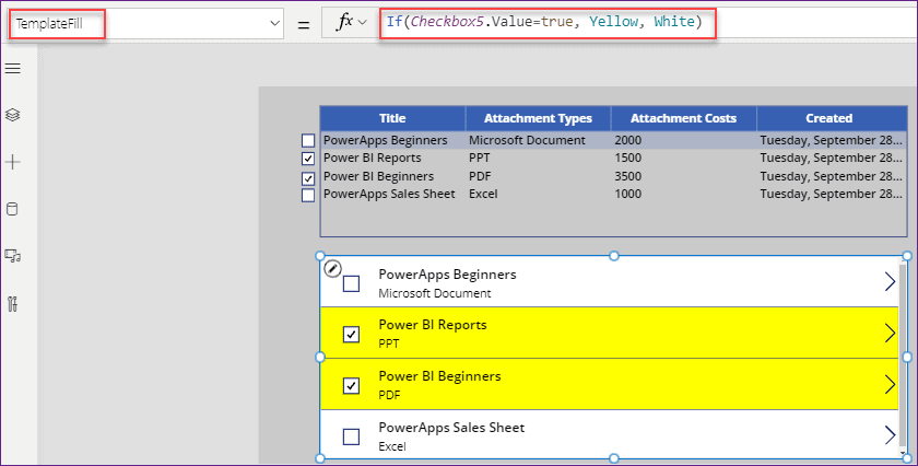 PowerApps data table select rows