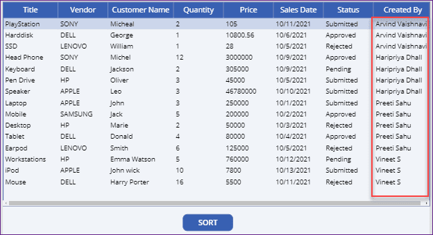 PowerApps data table sort by column