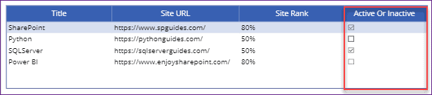 PowerApps datatable checkbox control