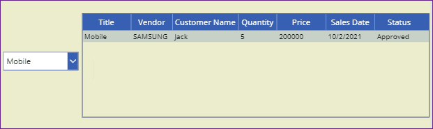 PowerApps filter data table based on dropdown