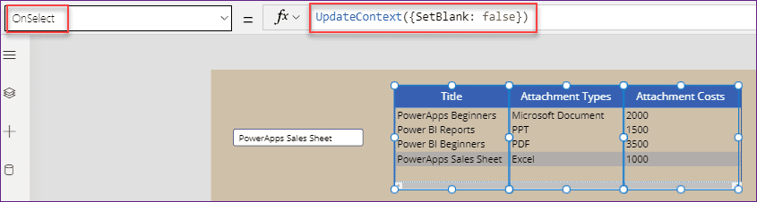 default select row in PowerApps data table