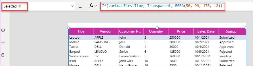 delete row in Power Apps data table