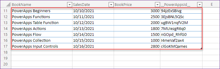 export powerapps data table