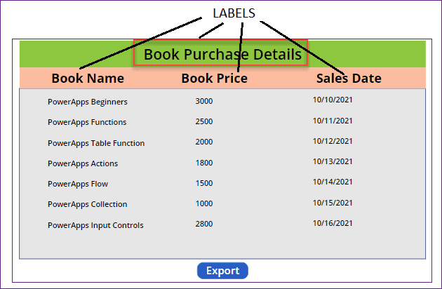 how to export powerapps data table