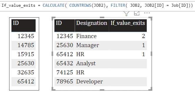show Power Bi if value exists in another table